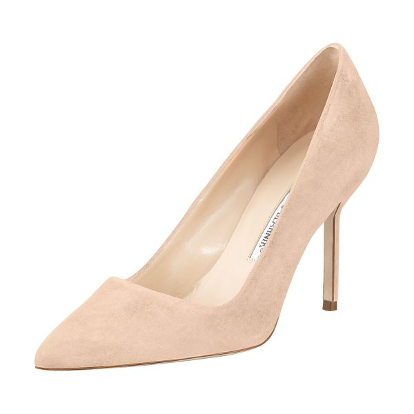 "Manolo Blahnik BB Suede 90mm Pump in nude - Manolo Blahnik suede pump. 3.5"" covered heel. Pointed..."