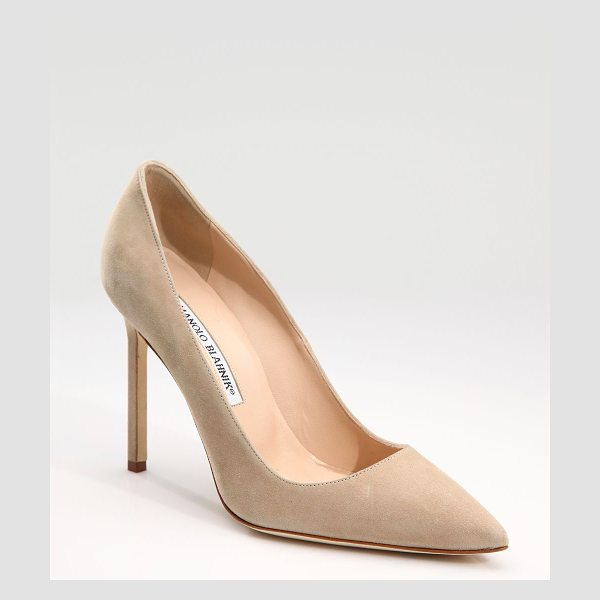 Manolo Blahnik bb 105 suede point toe pumps in beige - These sophisticated pumps of rich suede with a...
