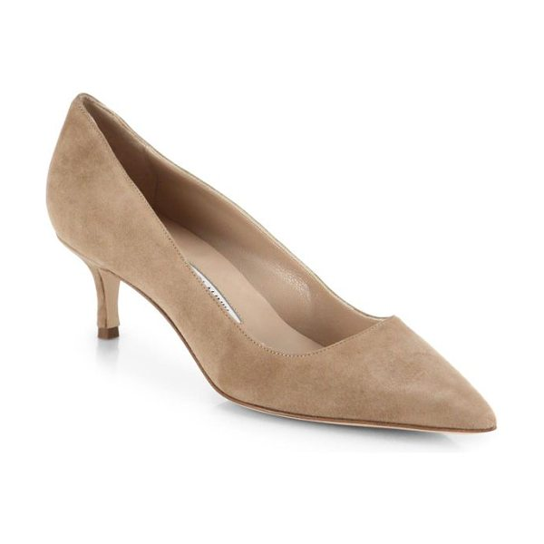 Manolo Blahnik bb 50 suede pumps in beige - Manolo Blahnik's signature BB pump, artfully crafted in...