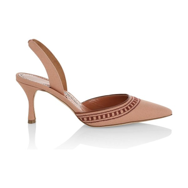 Manolo Blahnik cadana gala embroidered slingback pumps in multi brown