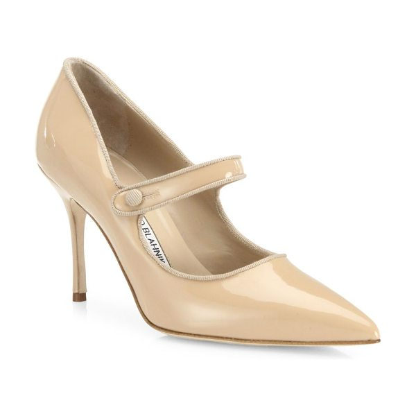 MANOLO BLAHNIK campari patent leather mary jane pumps - EXCLUSIVELY AT SAKS FIFTH AVENUE. Timeless point-toe...