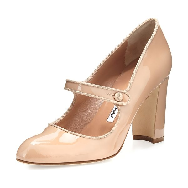 "Manolo Blahnik Campy 90mm Mary Jane Pump in nude - Manolo Blahnik patent leather pump. 3.5"" covered block..."