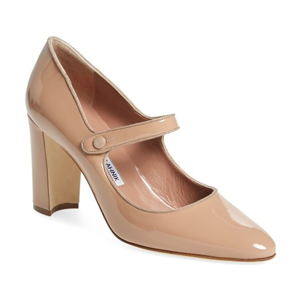 Manolo Blahnik 'campy' mary jane pump in beige patent - Tonal woven trim delicately traces a chic mary jane pump...