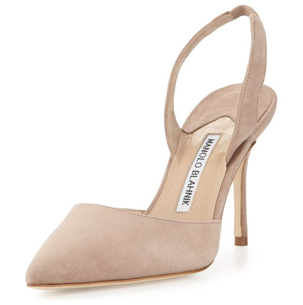 Manolo Blahnik Carolyne 90mm Suede Halter Pump in taupe - ONLYATNM Only Here. Only Ours. Exclusively for You....