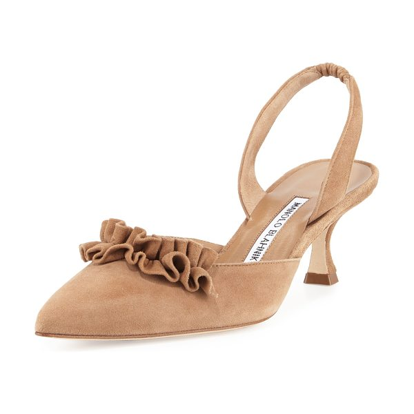 Manolo Blahnik Carolyne Ruffled Low-Heel Halter Pump in tan - ONLYATNM Only Here. Only Ours. Exclusively for You....