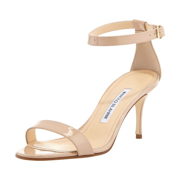 "Manolo Blahnik Chaos 70mm Patent Ankle-Strap Sandal in nude - Manolo Blahnik patent leather sandal. 2.8"" covered heel...."