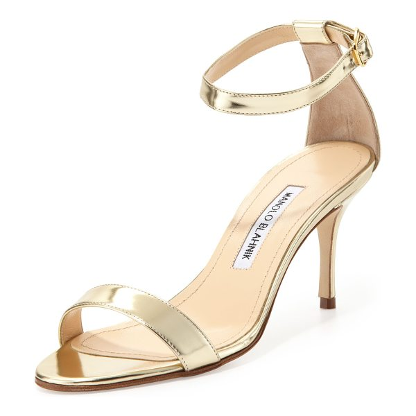 Manolo Blahnik Chaos metallic ankle-wrap sandal in gold