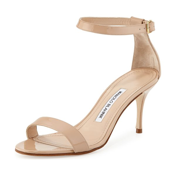 "Manolo Blahnik Chaos Patent Ankle-Strap Sandal in nude - Manolo Blahnik patent leather sandal. 2.8"" covered heel...."