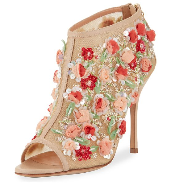 Manolo Blahnik Clizia Mesh Floral Peep-Toe Booties in nude - Manolo Blahnik mesh bootie with sequin and floral...