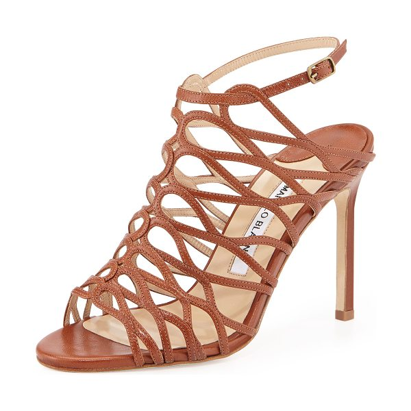 "MANOLO BLAHNIK Coddilla leather slingback sandal -  Manolo Blahnik strappy leather sandal. 4"" covered..."