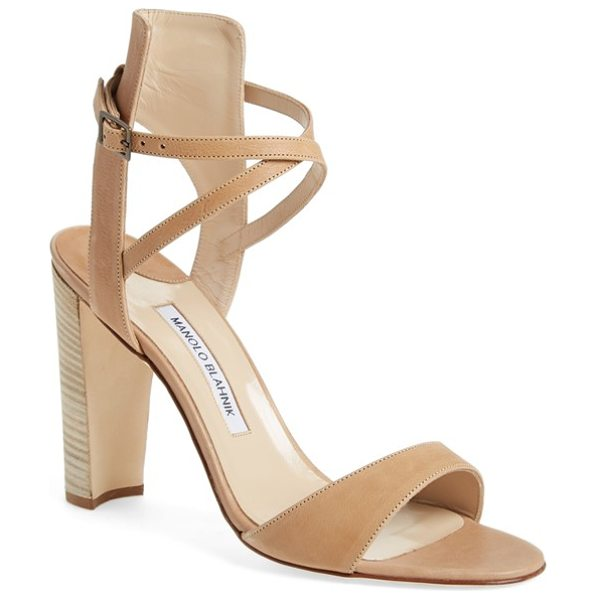 Manolo Blahnik convu ankle strap sandal in beige leather - Swaths of beautifully tanned leather strap the foot to...