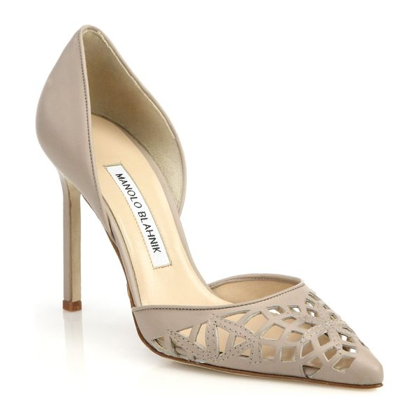 Manolo Blahnik Cutout leather d'orsay pumps in beige - A laser-cut pattern lends artful statement appeal to...