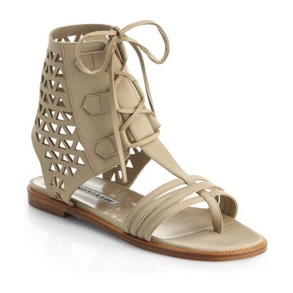Manolo Blahnik Cutout leather sandals in beige - EXCLUSIVELY AT SAKS IN BEIGE. An architectural triumph,...