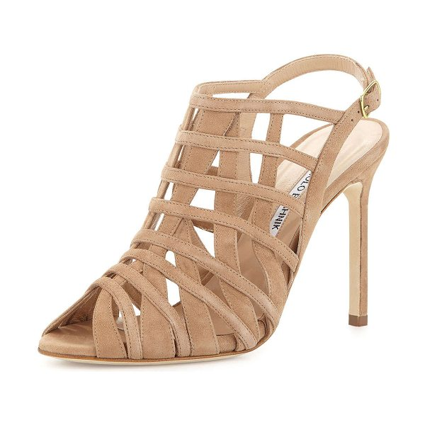 "Manolo Blahnik Dance suede cage high-heel sandal in beige - Manolo Blahnik sandal in suede. 4. 3"" covered stiletto..."