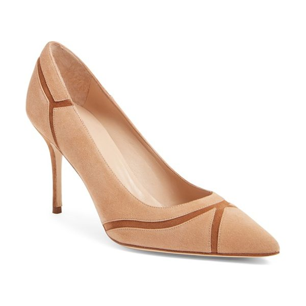 Manolo Blahnik dasti bicolor patchwork pointy toe pump in brown suede - Delicate piecing and a graceful pointy-toe silhouette...