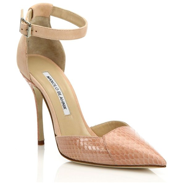 Manolo Blahnik Davia suede & watersnake pumps in rose - EXCLUSIVELY AT SAKS FIFTH AVENUEAnkle-strap pump...
