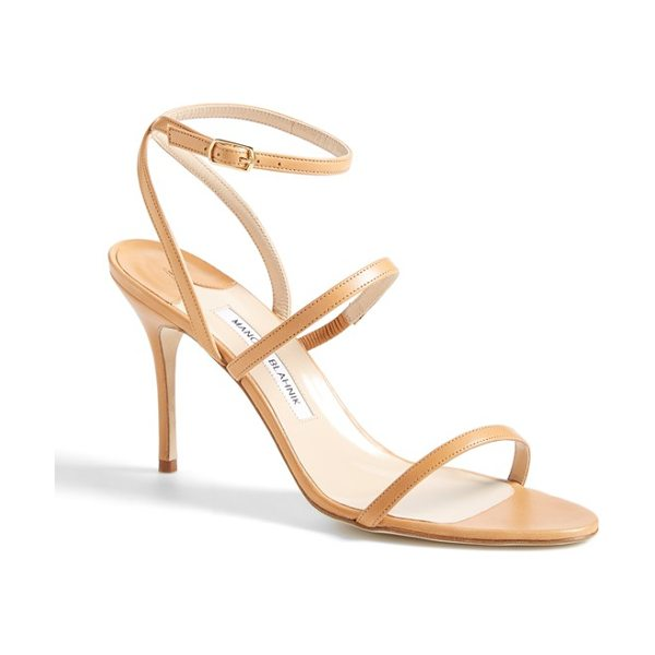 Manolo Blahnik didin sandal in brown leather - A curvy, slender wraparound ankle strap tops an alluring...