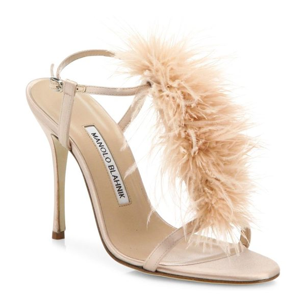 MANOLO BLAHNIK eila feather-trimmed satin t-strap sandals in blush - Tonal feathers add glam style to satin T-strap sandal....
