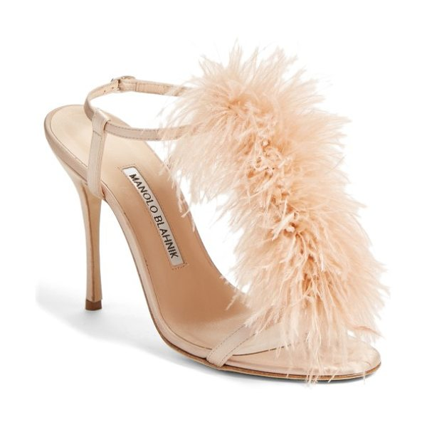 Manolo Blahnik eila t-strap sandal in blush satin - Dramatic feather embellishments amplify the retro...