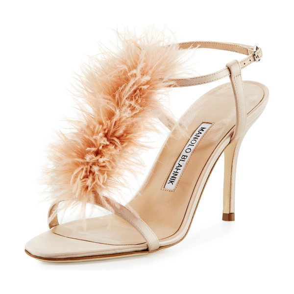 Manolo Blahnik Elia Feather T-Strap 105mm Sandal in nude - Manolo Blahnik satin sandal with marabou feather vamp....