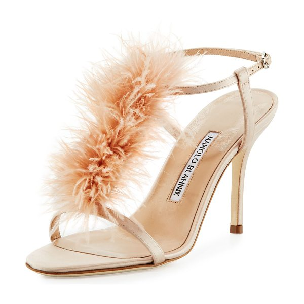 Manolo Blahnik Elia Feather T-Strap 105mm Sandal in flesh - Manolo Blahnik satin sandal with marabou feather vamp....