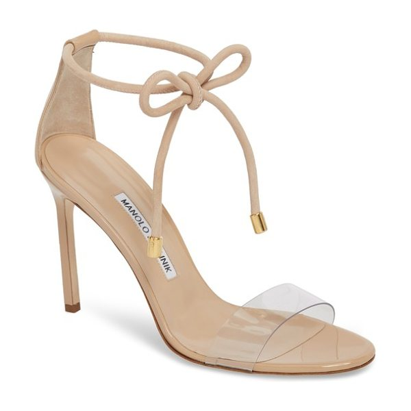 Manolo Blahnik estro ankle tie sandal in beige - A see-through strap at the vamp enhances the...