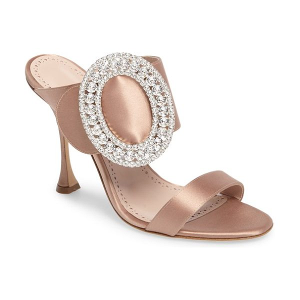 Manolo Blahnik fibiona crystal embellished mule in flesh - A champagne-hued mule gets a gorgeous lift with a curvy...