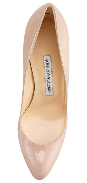Manolo Blahnik Foka Almond-Toe Leather Pump in nude - Patent pump features clean, almond-toe silhouette. 3...