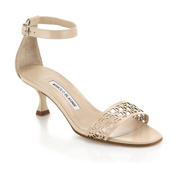 MANOLO BLAHNIK Geo leather ankle-strap sandals - EXCLUSIVELY AT SAKS IN BLACK AND NUDE. Italian-crafted...