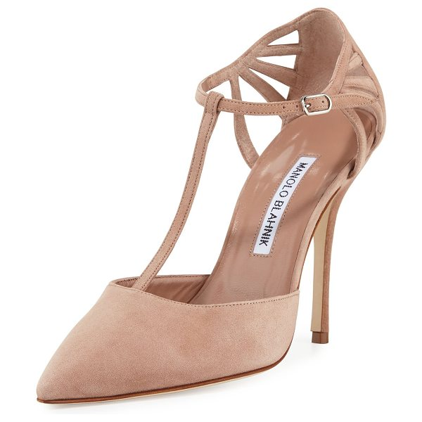 Manolo Blahnik Getta Suede T-Strap 105mm Pump in creme caramel - ONLYATNM Only Here. Only Ours. Exclusively for You....