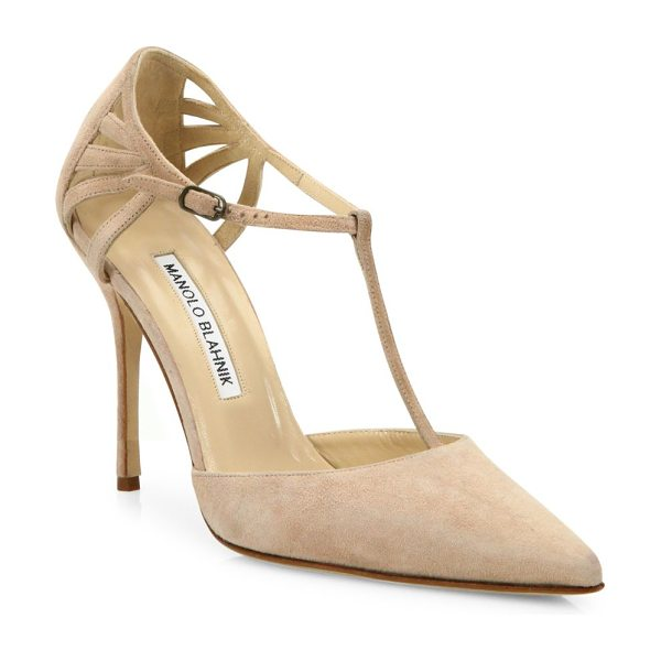 Manolo Blahnik getta suede t-strap pumps in blush - EXCLUSIVELY AT SAKS FIFTH AVENUE. Suede T-strap pump...