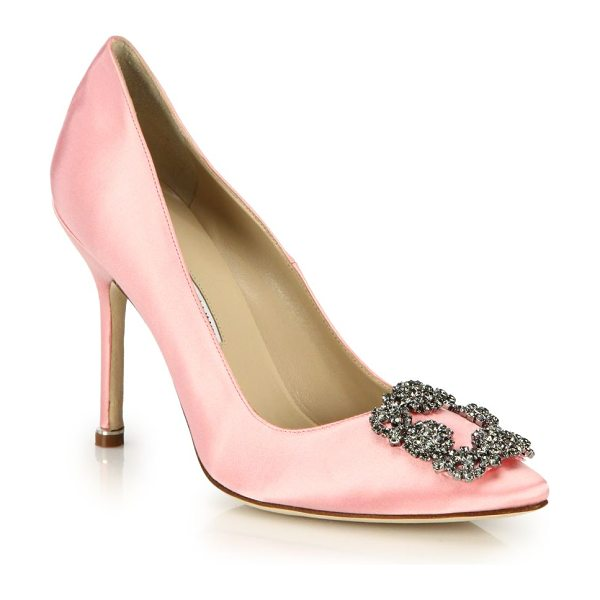 Manolo Blahnik hangisi 105 satin pumps in lightpink - Timeless shape of elegant satin, finished with a...