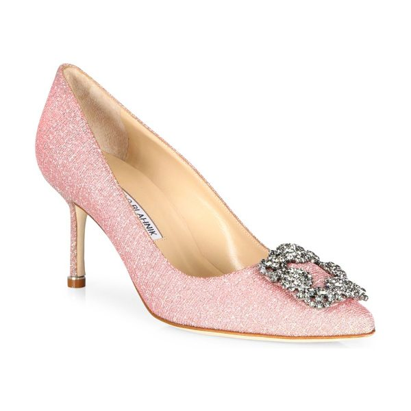 MANOLO BLAHNIK hangisi 70 jeweled pump in pink - Elegant signature silhouette crowned with crystal...