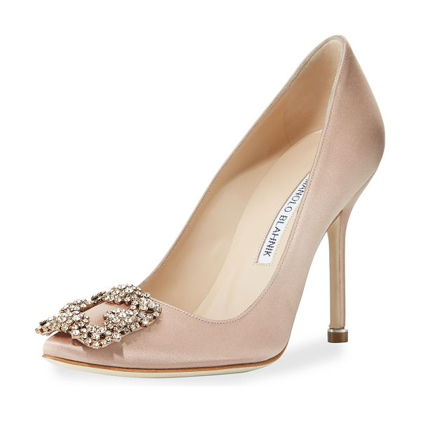 Manolo Blahnik Hangisi Crystal-Buckle Satin 105mm Pump in flesh - Manolo Blahnik satin pump. Available in multiple colors....