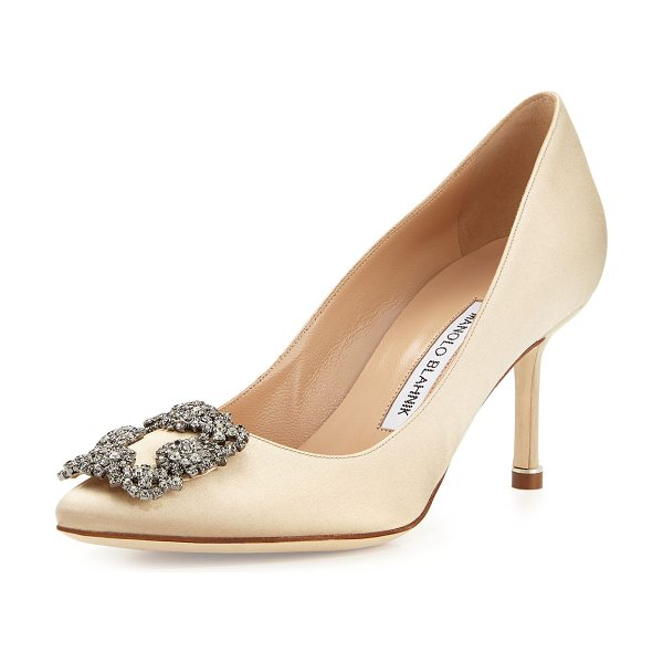 "Manolo Blahnik Hangisi Crystal-Buckle Satin 70mm Pump in champagne - Manolo Blahnik satin pump. 2.8"" covered heel. Pointed..."