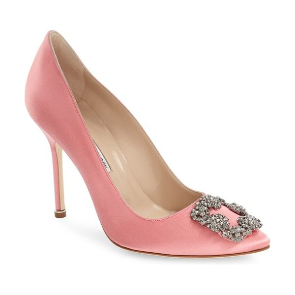 Manolo Blahnik 'hangisi' jewel pump in pink satin - A bejeweled buckle-like ornament sparkles at the pointy...