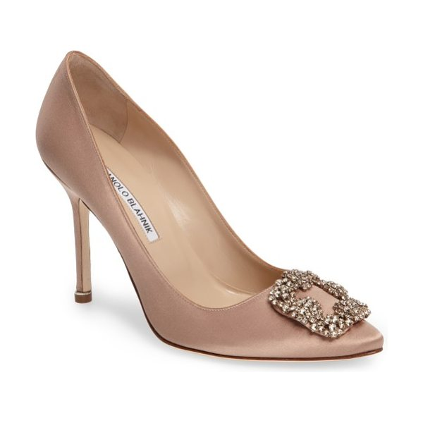 Manolo Blahnik 'hangisi' jewel pump in flesh satin - A bejeweled buckle-like ornament sparkles at the pointy...