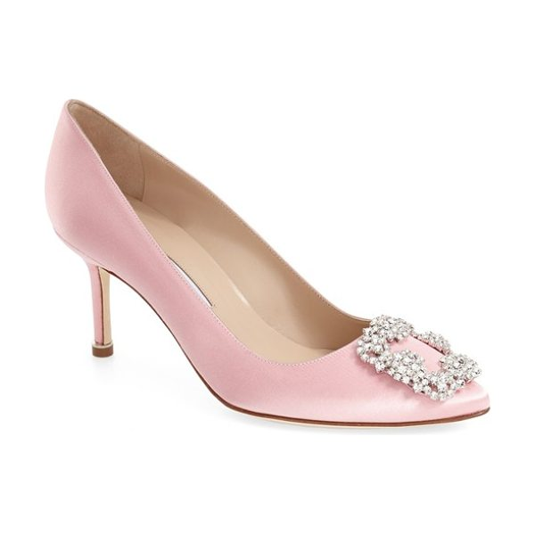 MANOLO BLAHNIK 'hangisi' pointy toe pump in light pink satin - A sparkling, crystal-encrusted ornament highlights the...