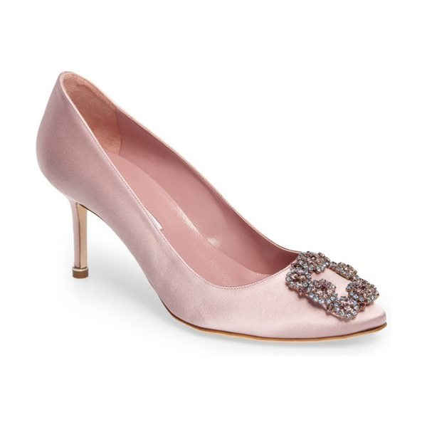 Manolo Blahnik 'hangisi' pointy toe pump in blush satin - A sparkling, crystal-encrusted ornament highlights the...