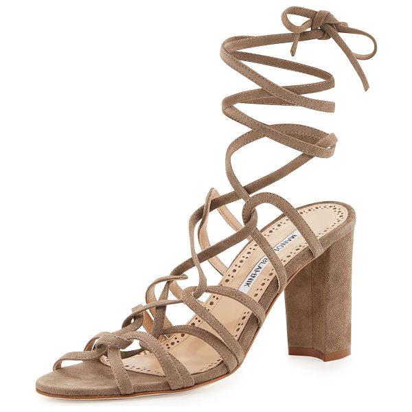 "Manolo Blahnik Jena Suede Lace-Up Sandal in taupe - Manolo Blahnik suede sandal. 3.5"" covered block heel...."