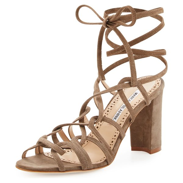 MANOLO BLAHNIK Jena Suede Lace-Up Sandal - ONLYATNM Only Here. Only Ours. Exclusively for You....