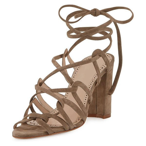 Manolo Blahnik Jena Suede Lace-Up Sandal in st taupe 87 suede - ONLYATNM Only Here. Only Ours. Exclusively for You....