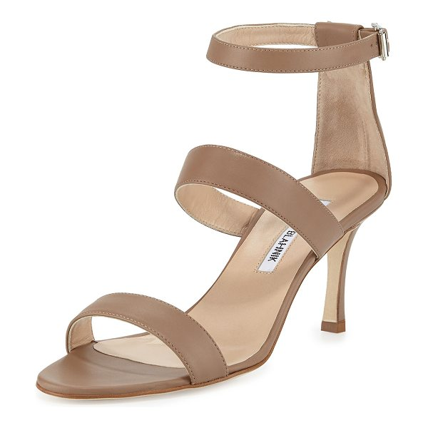 Manolo Blahnik Kaotic triple-strap sandal in taupe