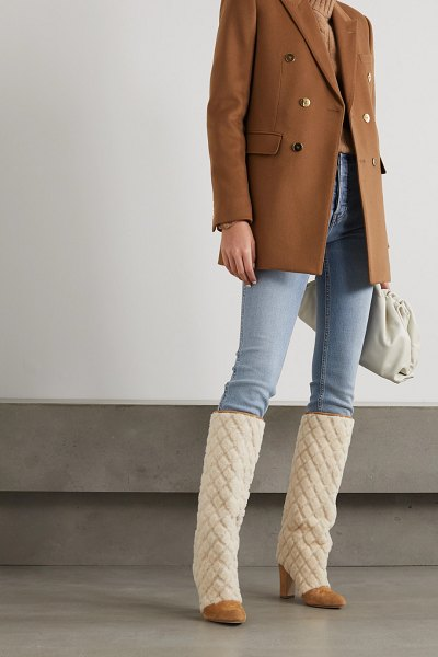 Manolo Blahnik khomiko quilted shearling and suede knee boots in beige