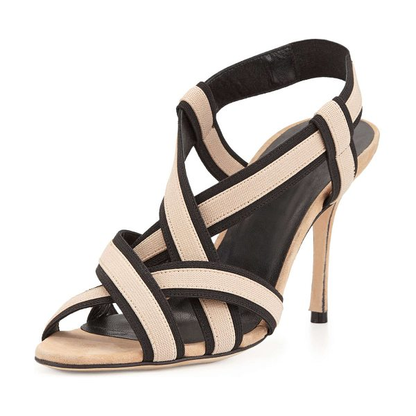 Manolo Blahnik Lasti Stretch-Strap Crisscross Sandal in black/nude - Manolo Blahnik sandal with bicolor stretch-strap upper....