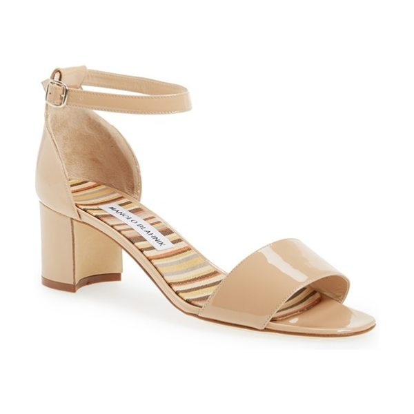Manolo Blahnik lauratomod ankle strap sandal in nude - A chunky half-moon heel boosts the modern attitude of a...