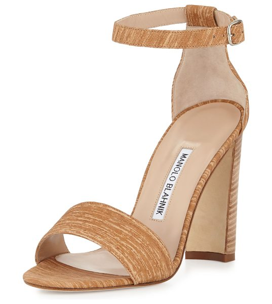 Manolo Blahnik Lauratopri ankle-wrap 105mm sandal in beige