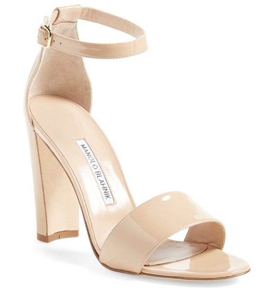Manolo Blahnik 'lauratopri' sandal in nude patent - A svelte half-moon heel adds architectural interest to a...