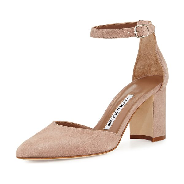 "MANOLO BLAHNIK Lausam Suede Ankle-Wrap Pump in brown - Manolo Blahnik suede d'Orsay pump. 2.8"" covered block..."