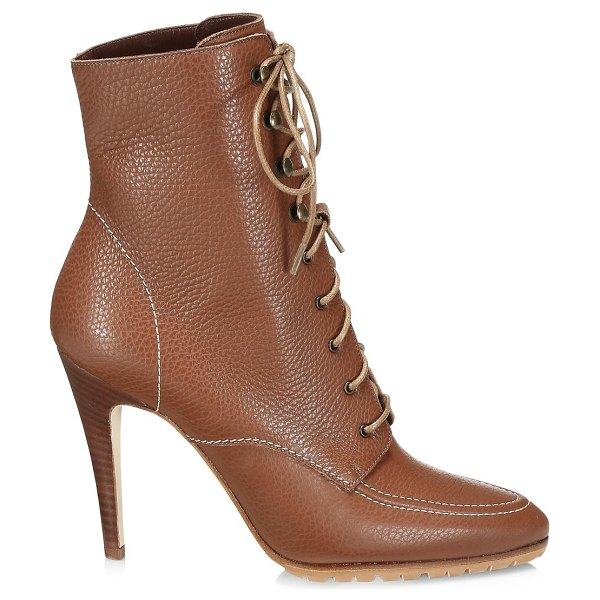 Manolo Blahnik lavoriccia lace-up leather ankle boots in luggage